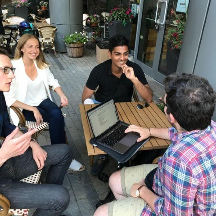 From left to right: Will Boan (3L), Amanda Wolczanski (2L), Govind Mohan (computer science, economics, philosophy), German Andres Guberman (2L).